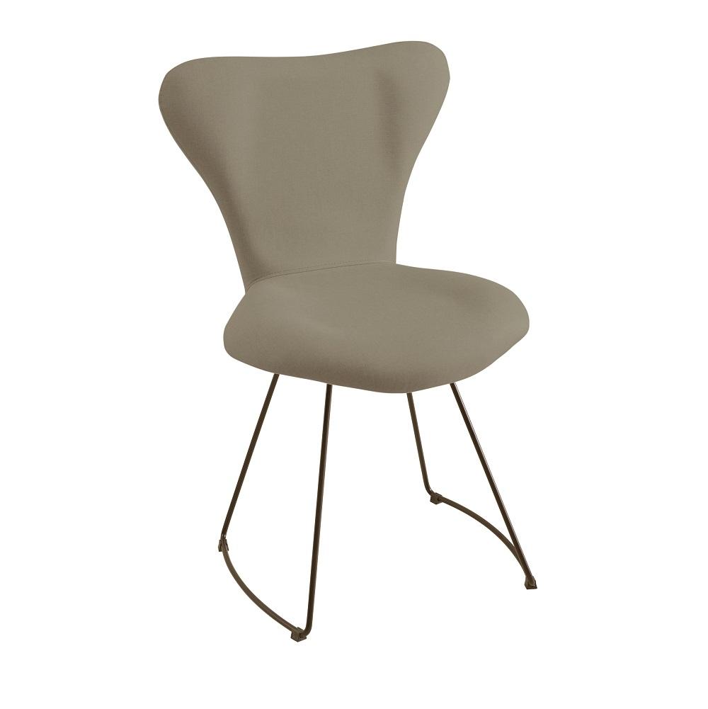 Cadeira Estofada Jacobsen com Base em Aço Carbono F45-1 Cinza