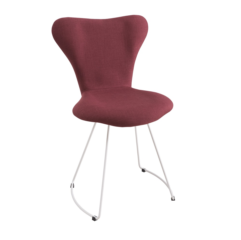 Cadeira Estofada Jacobsen com Base em Aço Carbono F45-1 Marsala