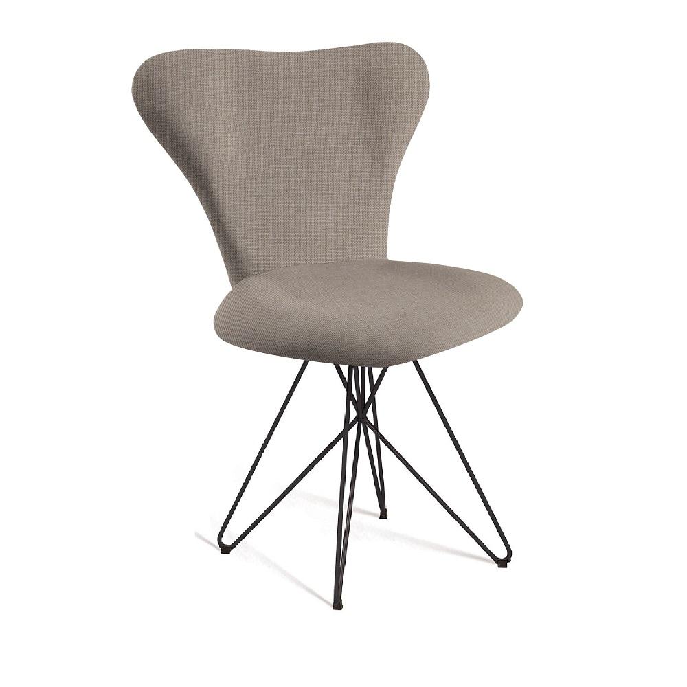 Cadeira Estofada Jacobsen com Pés em Aço Carbono F45-2 Bege
