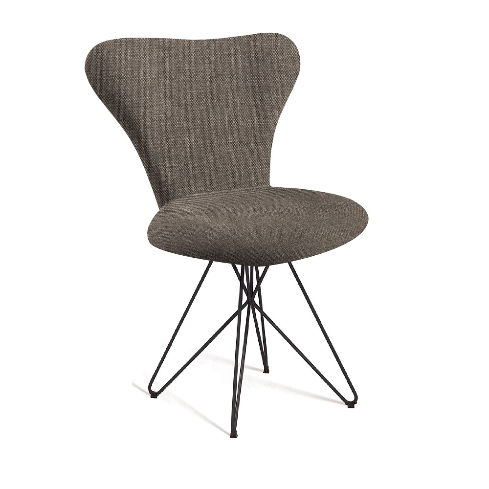 Cadeira Estofada Jacobsen com Pés em Aço Carbono F45-2 Marrom
