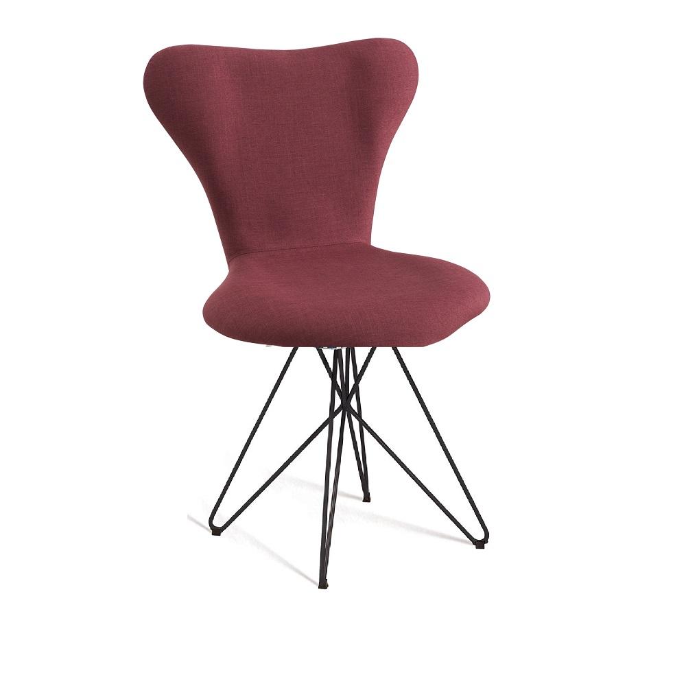 Cadeira Estofada Jacobsen com Pés em Aço Carbono F45-2 Marsala