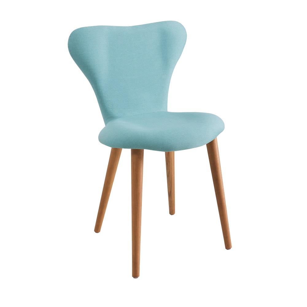 Cadeira Estofada Jacobsen com Pés Palito F45 Azul Turquesa