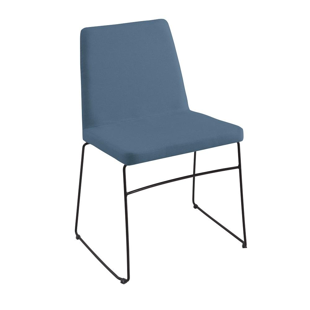 Cadeira Estofada Paris F41 Azul Jeans