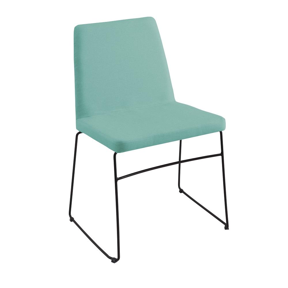 Cadeira Estofada Paris F41 Azul Turquesa