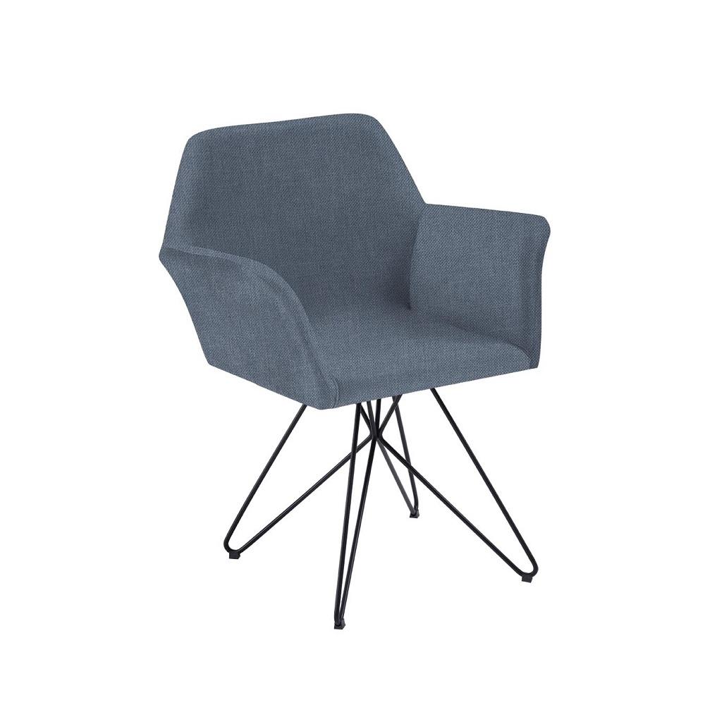 Cadeira Estofada Pinguim com Base de Aço 8127 Azul Jeans