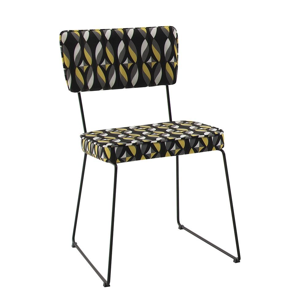 Cadeira Estofada Roma F53 Preto Colorido