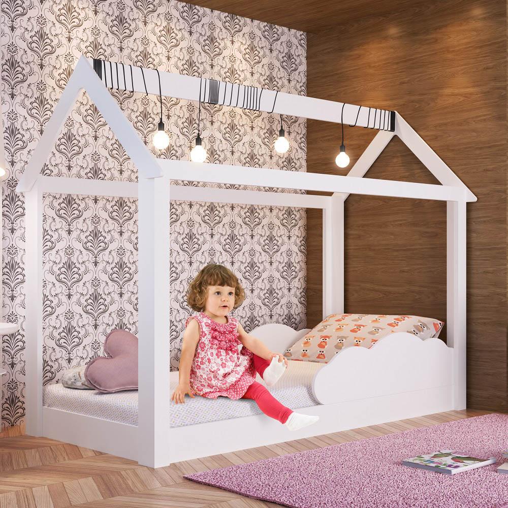 Cama Montessoriana Infantil com Nuvem BY 401 Branco