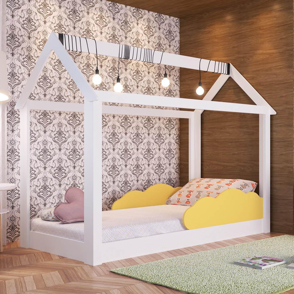 Cama Montessoriana Infantil com Nuvem BY 401 Branco e Amarelo