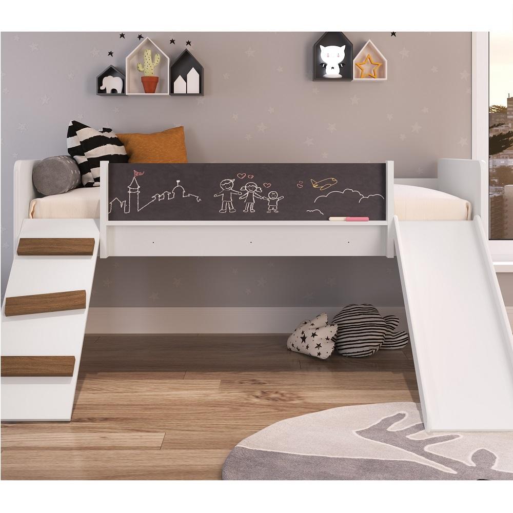 Cama Playground com Escorregador e Rampa BY710 Branco