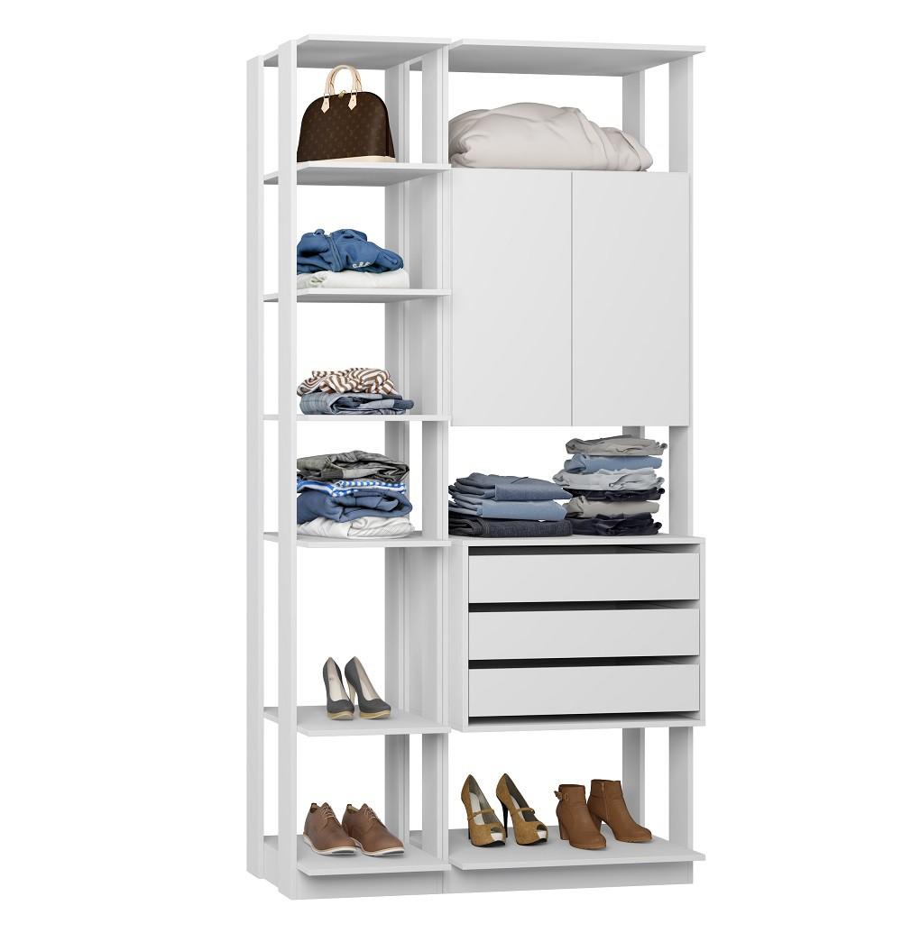 Closet Guarda-Roupa 1 Armário 3 Gavetas e Prateleiras Clothes 9006 Branco