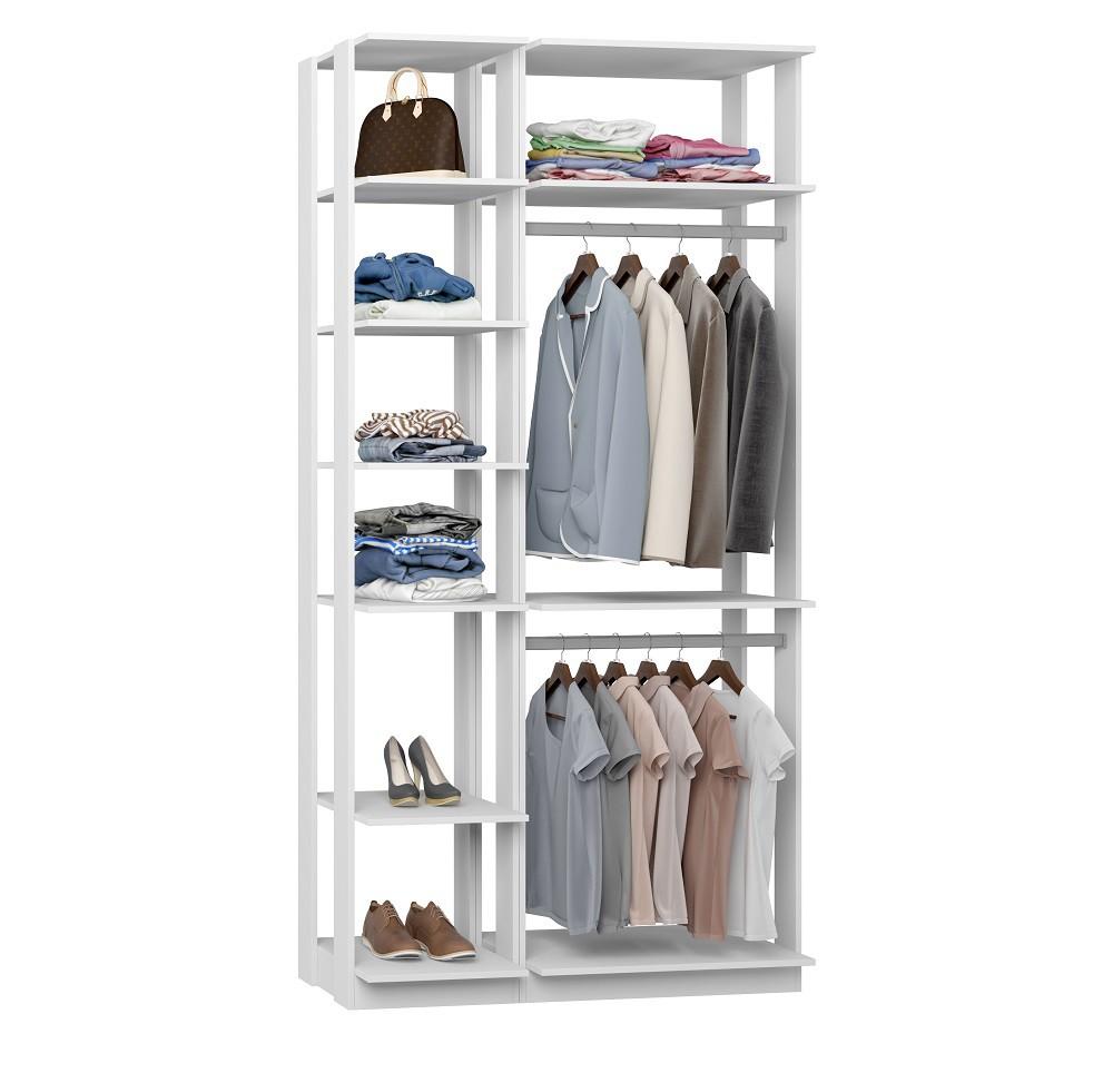 Closet Guarda-Roupa 2 Cabideiros e Prateleiras Clothes 9005 Branco
