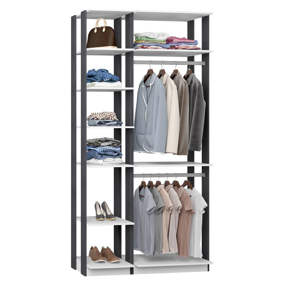 Closet Guarda-Roupa 2 Cabideiros e Prateleiras Clothes 9005 Branco/Espresso