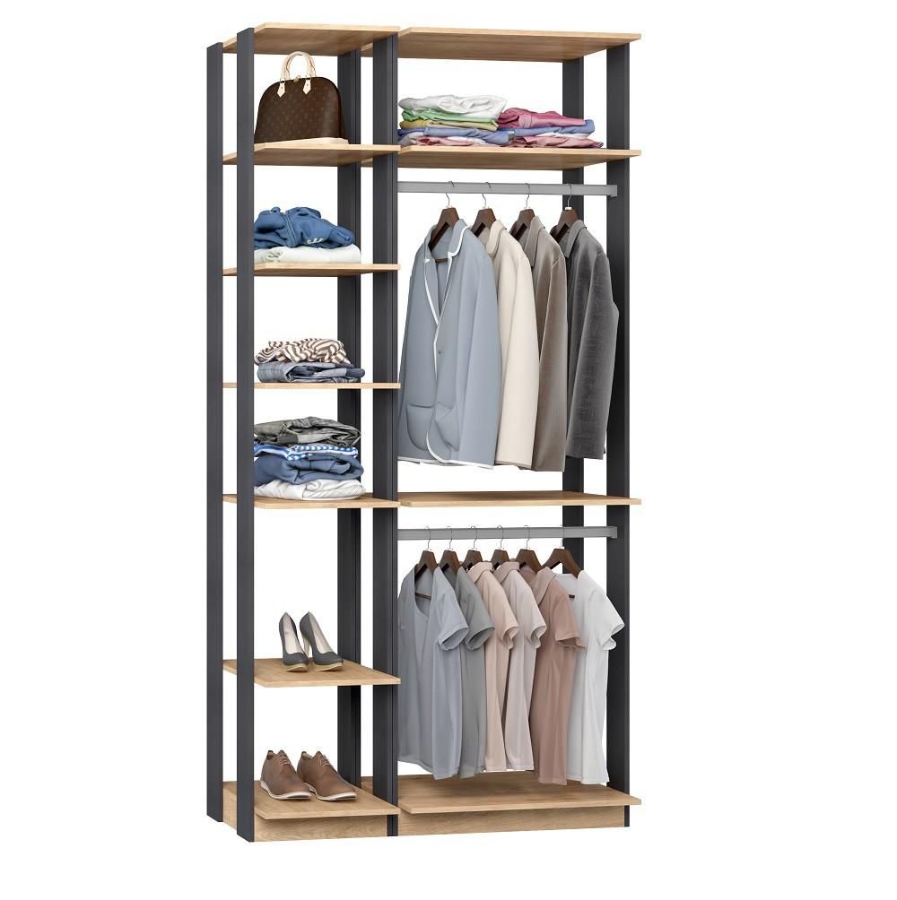 Closet Guarda-Roupa 2 Cabideiros e Prateleiras Clothes 9005 Carvalho Mel/Espresso