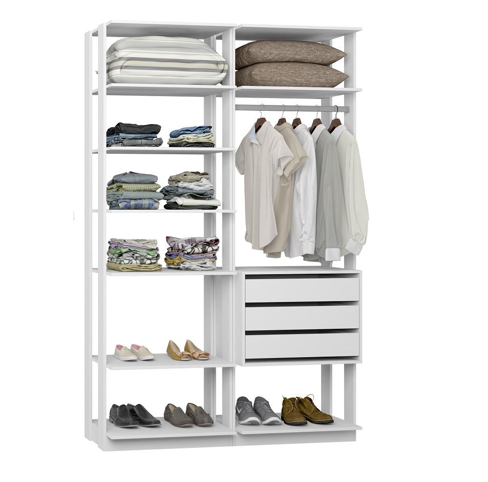 Closet Guarda-Roupa com 3 Gavetas 1 Cabideiro e Prateleiras Clothes 9008 Branco