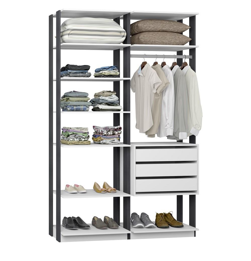 Closet Guarda-Roupa com 3 Gavetas 1 Cabideiro e Prateleiras Clothes 9008 Brano/Espresso