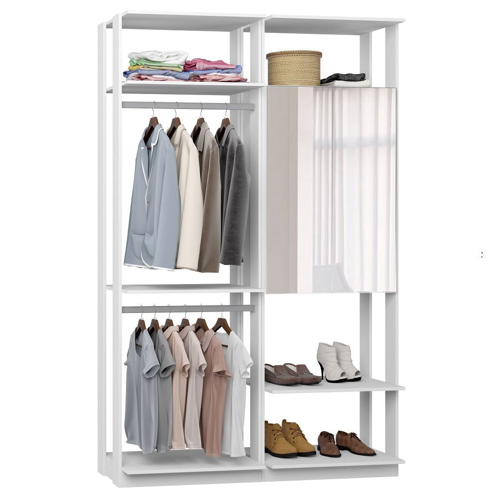 Closet Guarda-Roupa com Espelho 1 Armário e 2 Cabideiros Clothes 9015 Branco