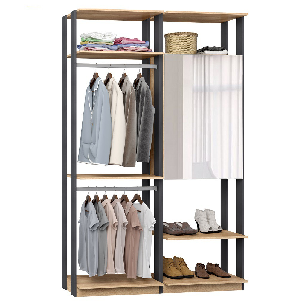 Closet Guarda-Roupa com Espelho 1 Armário e 2 Cabideiros Clothes 9015 Caravalho Mel/Espresso