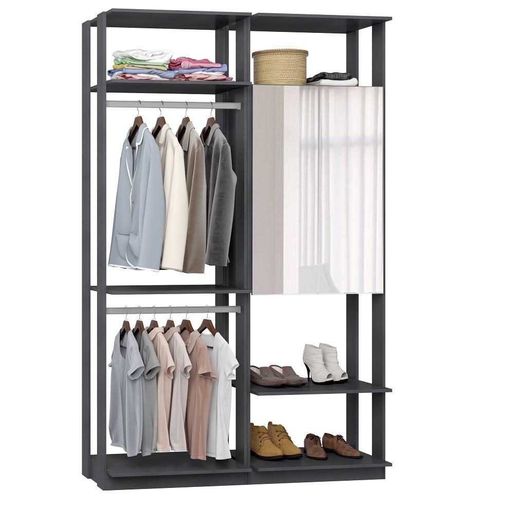 Closet Guarda-Roupa com Espelho 1 Armário e 2 Cabideiros Clothes 9015 Espresso