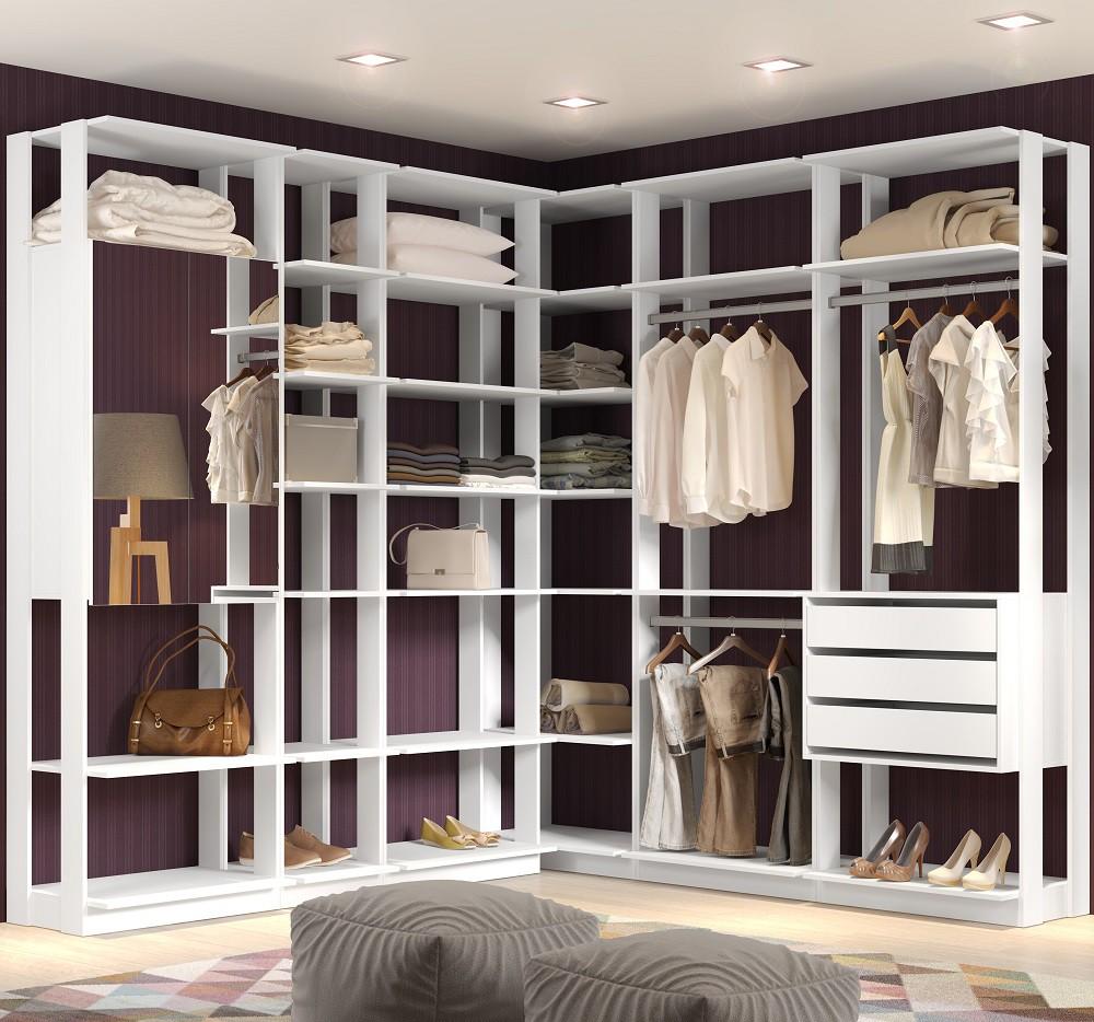 Closet Guarda-Roupa com Espelho 3 Gavetas e 2 Cabideiros Clothes 9001 Branco