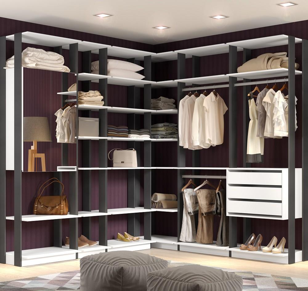 Closet Guarda-Roupa com Espelho 3 Gavetas e 2 Cabideiros Clothes 9001 Branco/Espresso