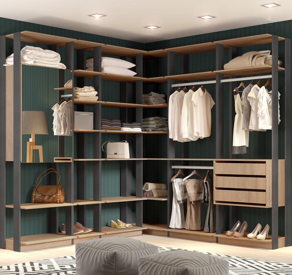 Closet Guarda-Roupa com Espelho 3 Gavetas e 2 Cabideiros Clothes 9001 Carvalho Mel/Espresso