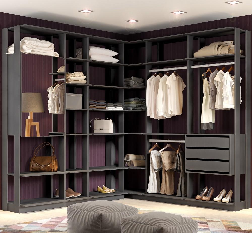 Closet Guarda-Roupa com Espelho 3 Gavetas e 2 Cabideiros Clothes 9001 Espresso