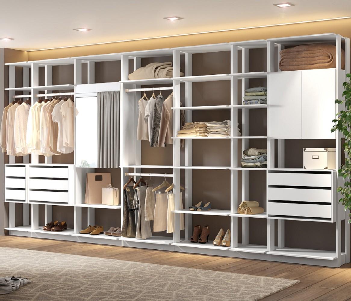 Closet Guarda-Roupa com Espelho 3 Gaveteiros e 3 Armários Clothes 9003 Branco