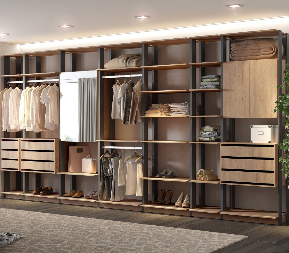 Closet Guarda-Roupa com Espelho 3 Gaveteiros e 3 Armários Clothes 9003 Carvalho Mel/Espresso