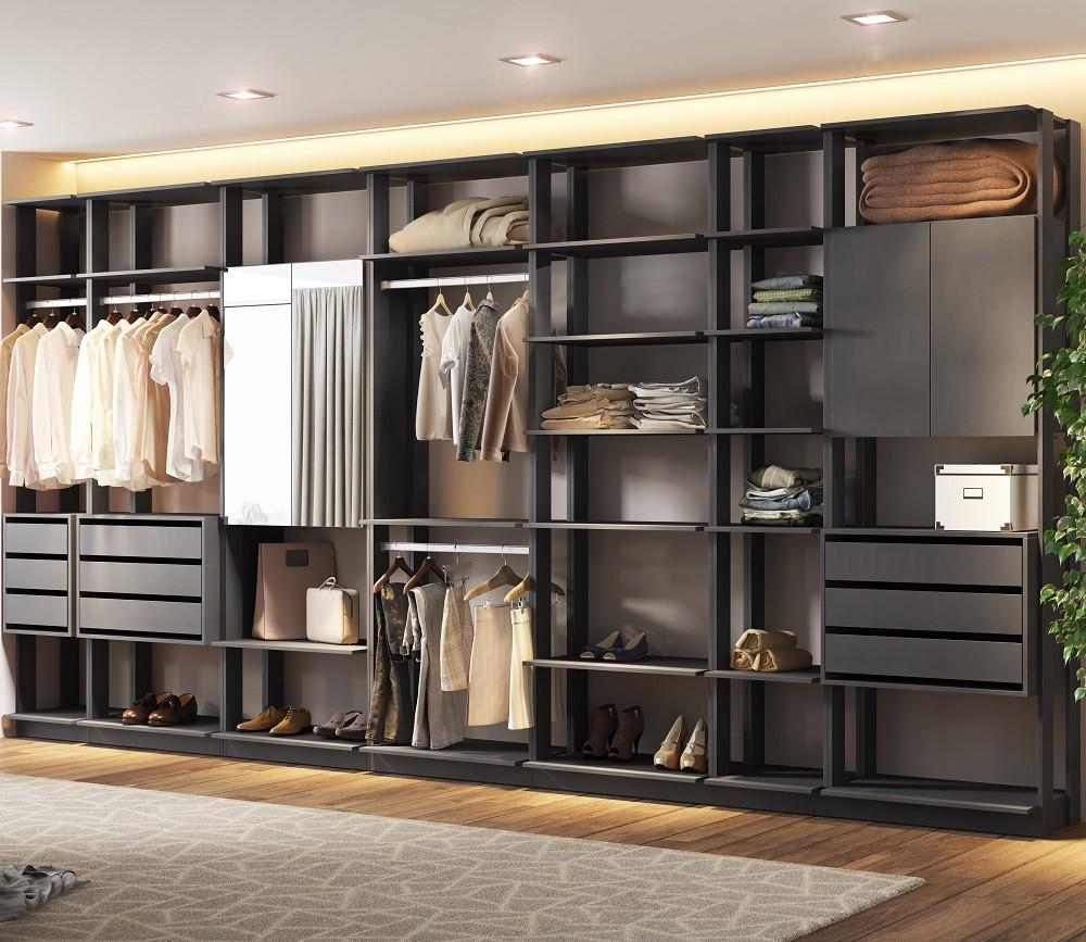 Closet Guarda-Roupa com Espelho 3 Gaveteiros e 3 Armários Clothes 9003 Espresso
