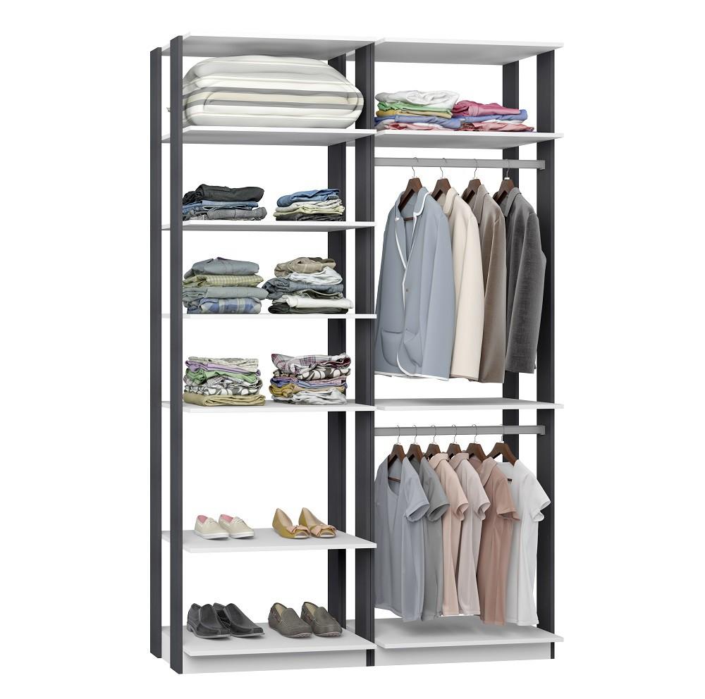 Closet Guarda-Roupas com 2 Cabideiros e Prateleiras Clothes 9010 Branco/Espresso