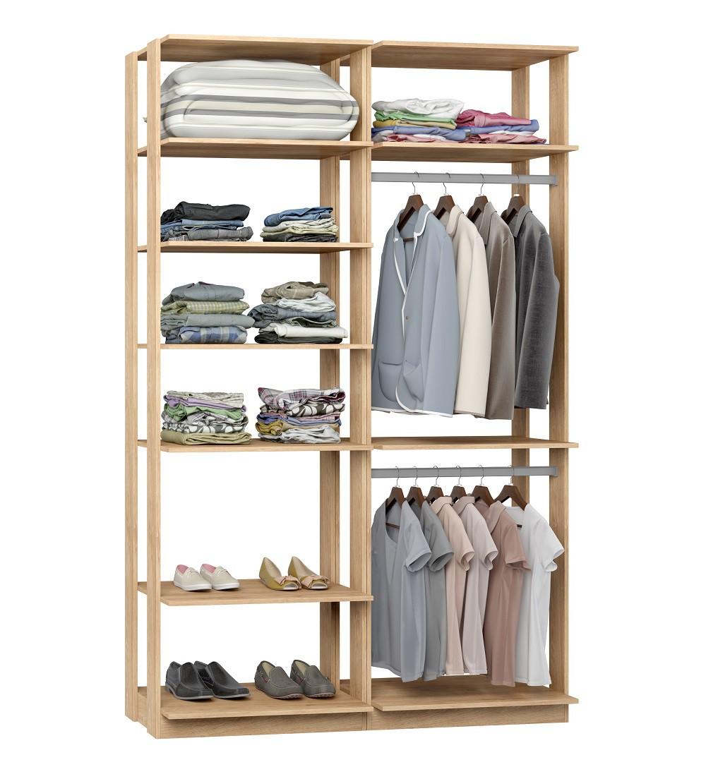 Closet Guarda-Roupas com 2 Cabideiros e Prateleiras Clothes 9010 Carvalho Mel
