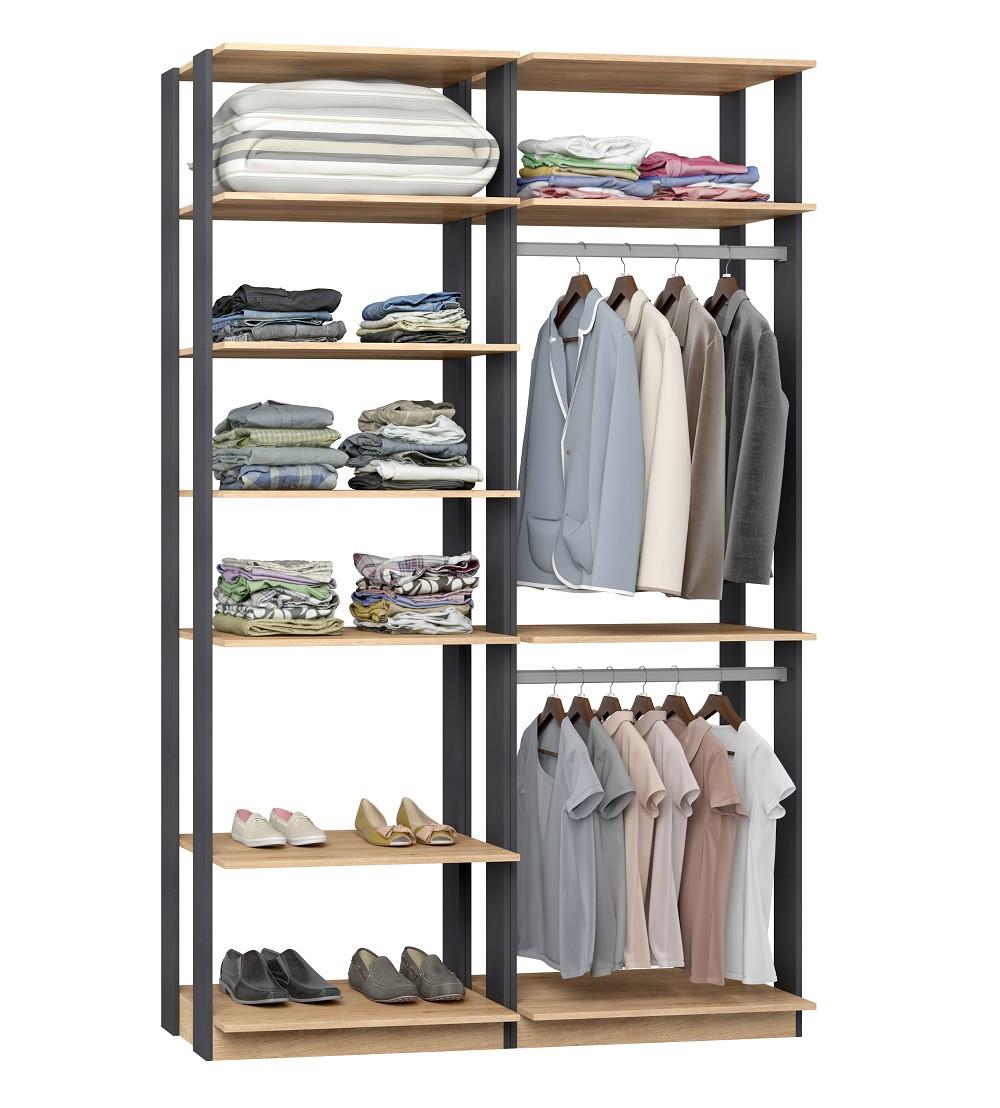 Closet Guarda-Roupas com 2 Cabideiros e Prateleiras Clothes 9010 Carvalho Mel/Espresso