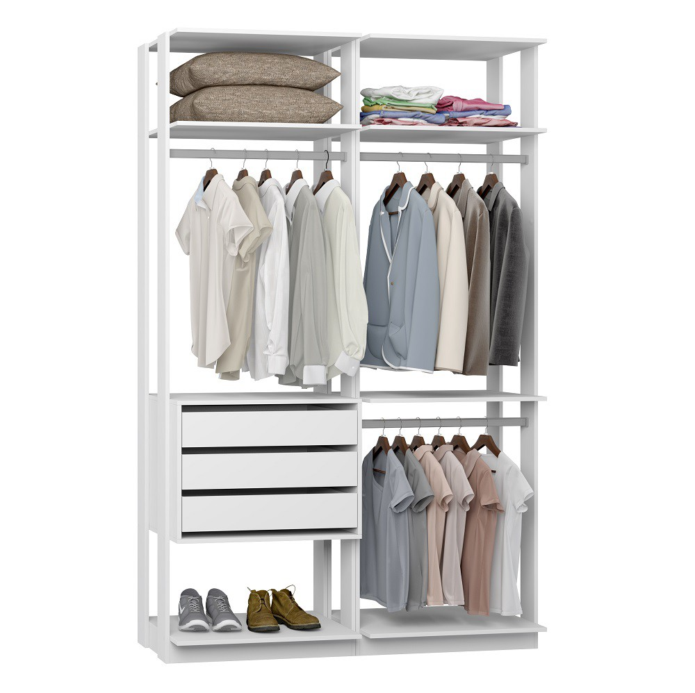 Closet Guarda-Roupas com 3 gavetas e 3 Cabideiros Clothes 9013 Branco