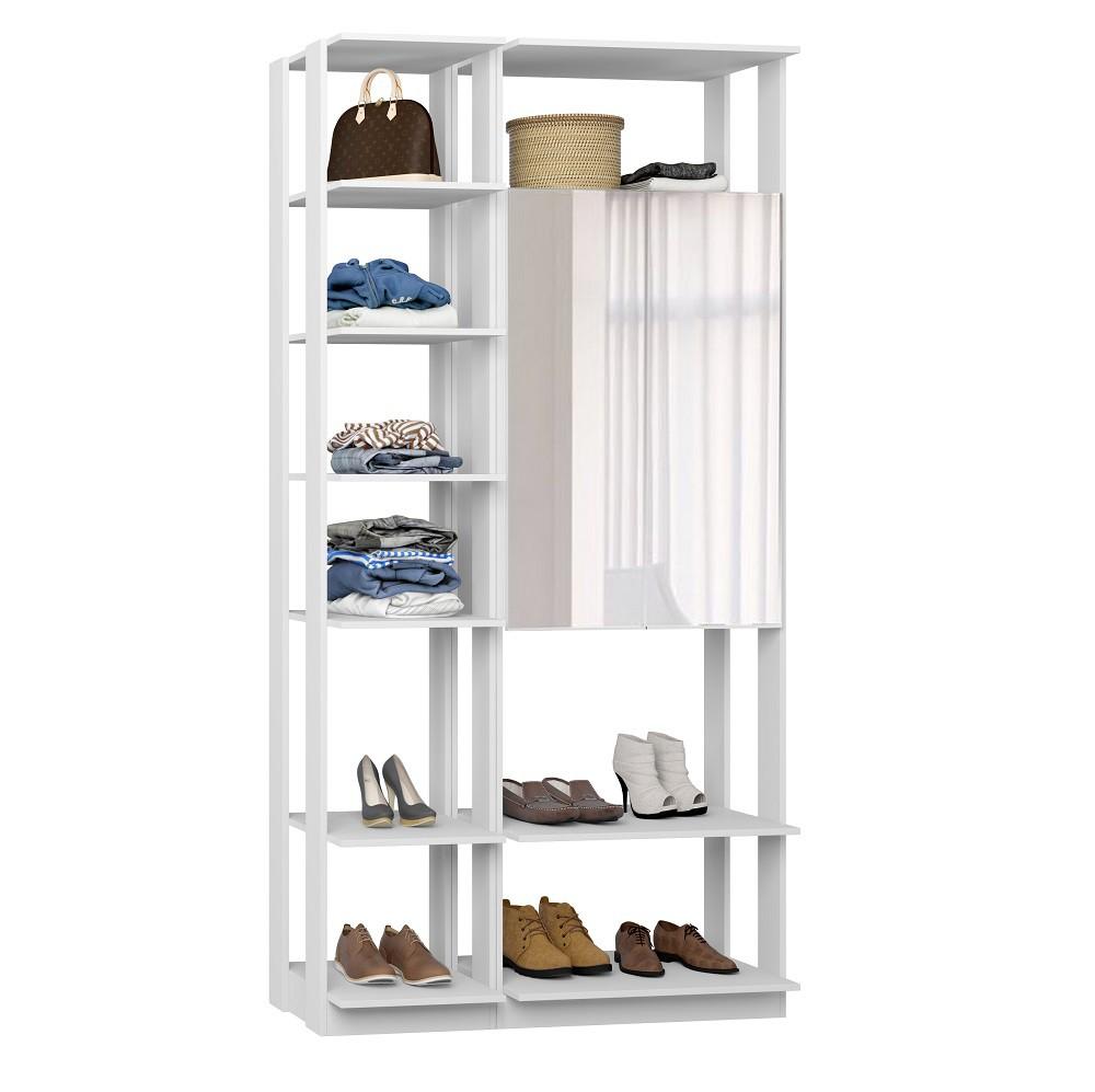 Closet Guarda-Roupas com Espelho 1 Armário e Prateleiras Clothes 9007 Branco