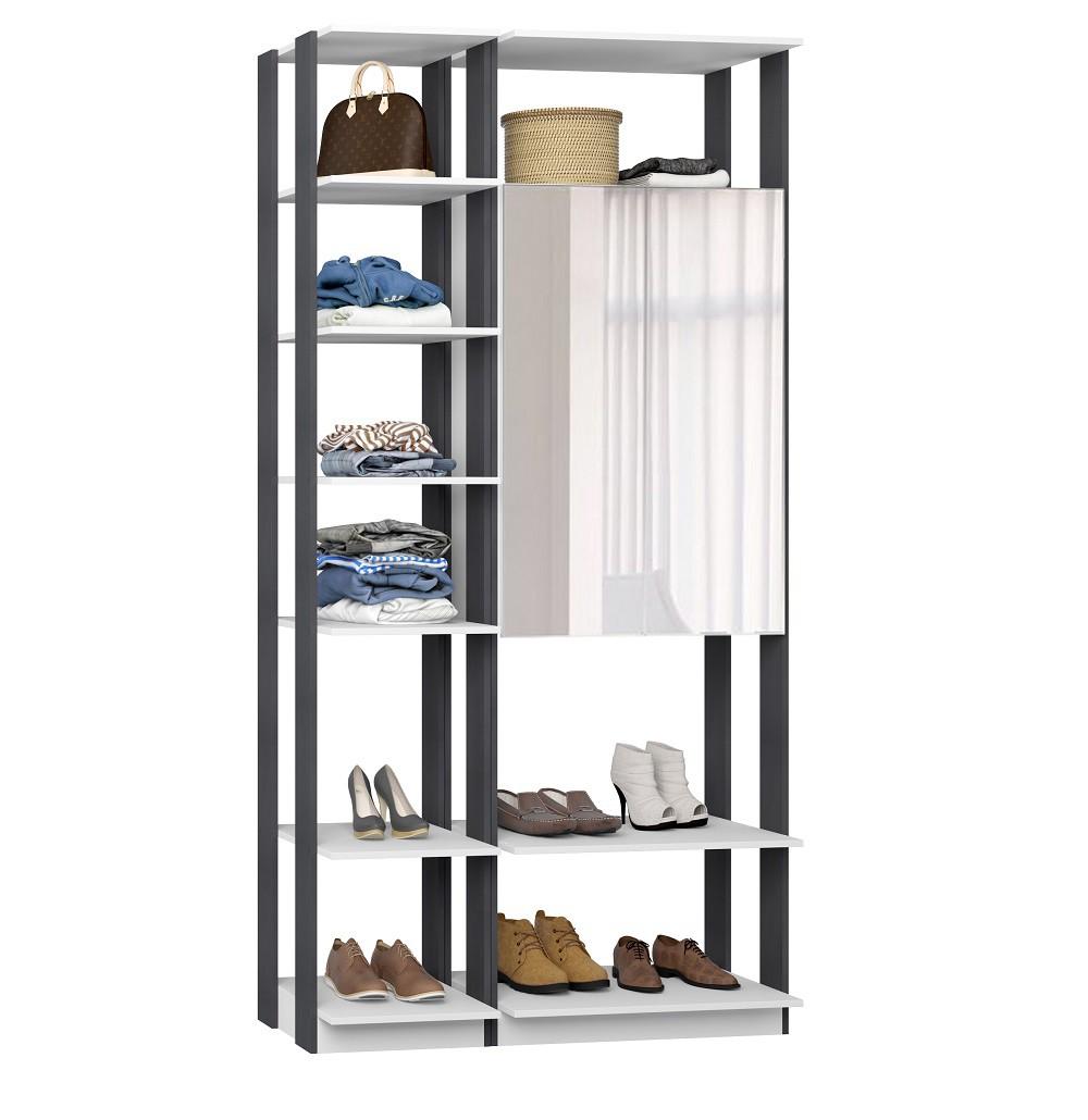 Closet Guarda-Roupas com Espelho 1 Armário e Prateleiras Clothes 9007 Branco/Espresso