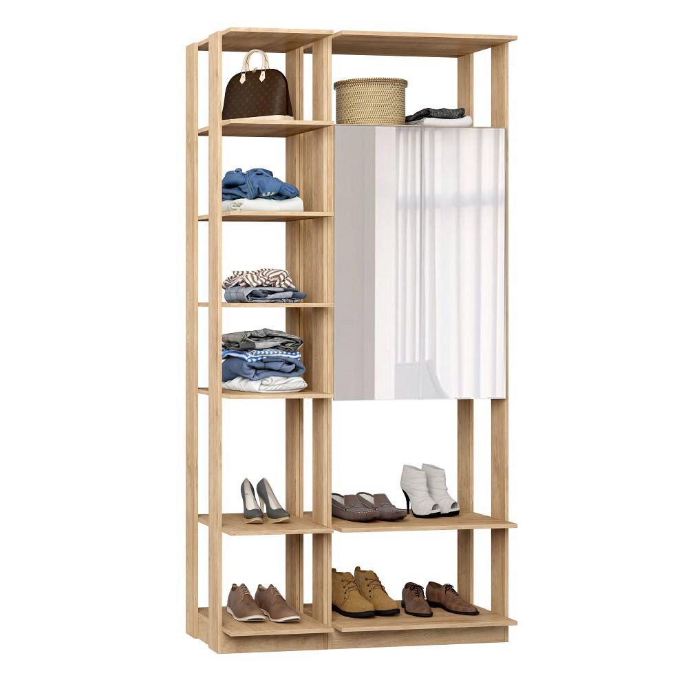 Closet Guarda-Roupas com Espelho 1 Armário e Prateleiras Clothes 9007 Carvalho Mel