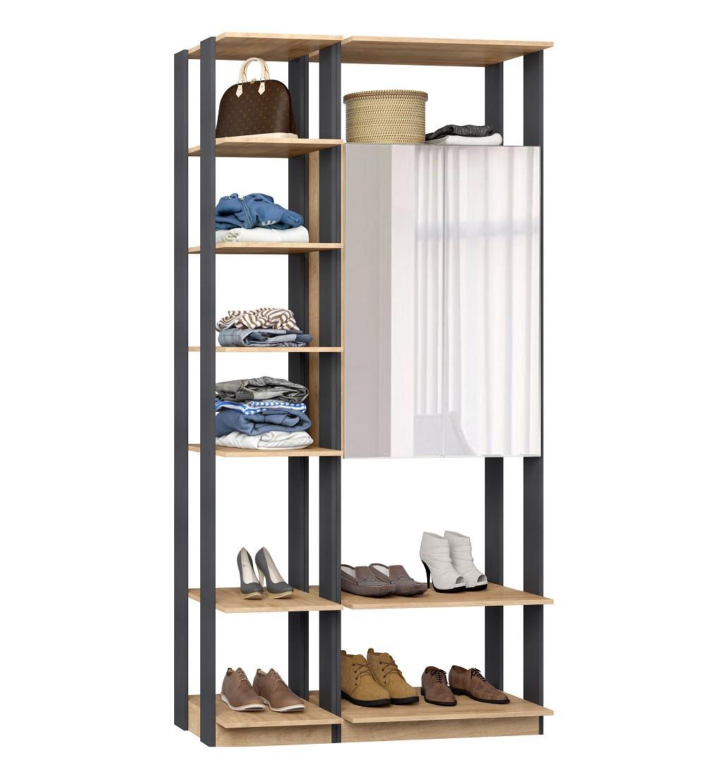 Closet Guarda-Roupas com Espelho 1 Armário e Prateleiras Clothes 9007 Carvalho Mel/Espresso