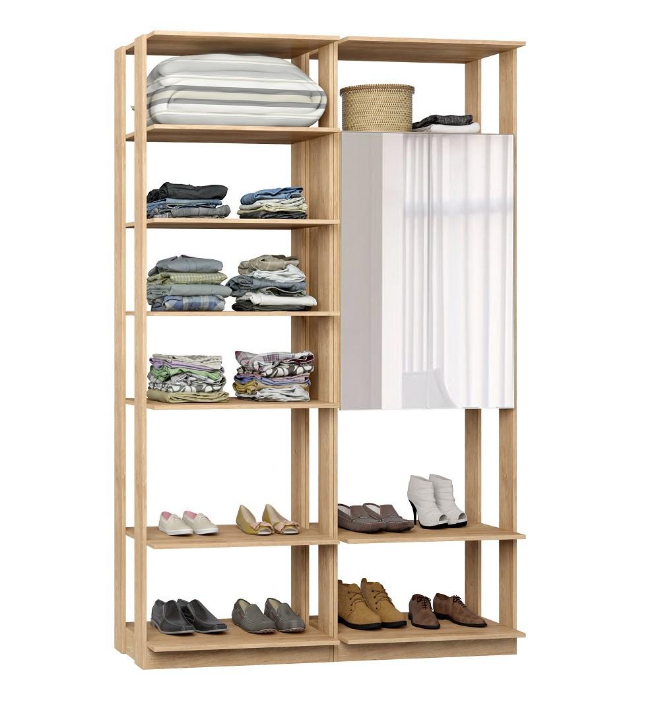 Closet Guarda-Roupas com Espelho 1 Armário e Prateleiras Clothes 9012 Carvalho Mel