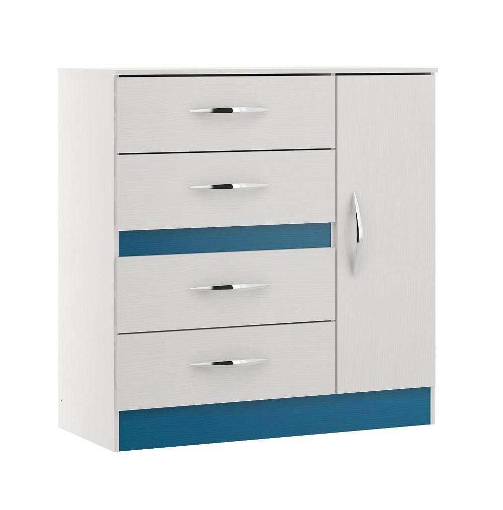 Cômoda com 4 Gavetas e 1 Porta 2009 Branco e Azul Soluzione