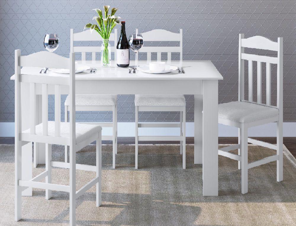 Conjunto com Mesa e 4 Cadeiras 11200 Branco
