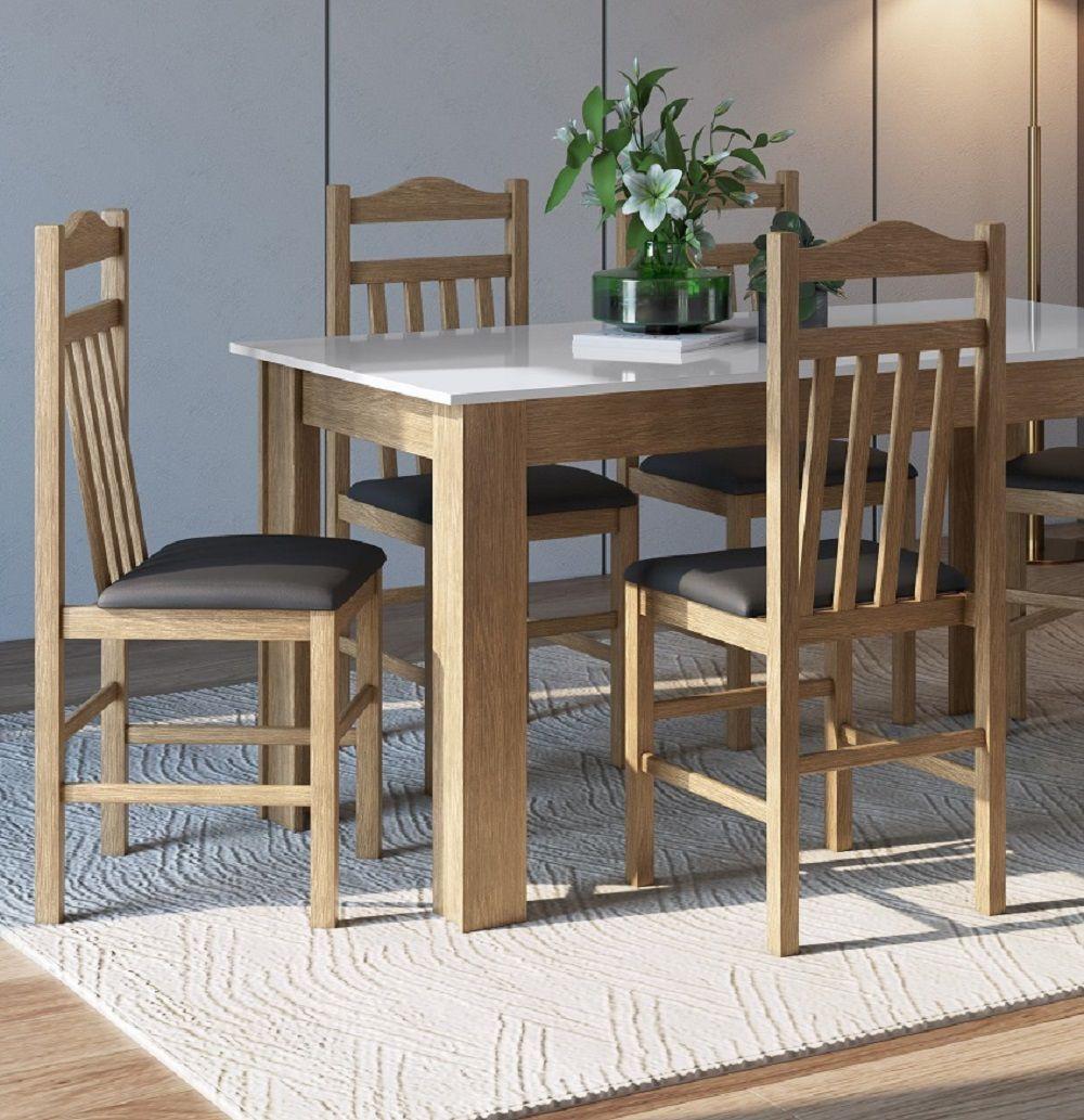 Conjunto com Mesa e 4 Cadeiras 11400 Ameixa Negra, Branco e Preto