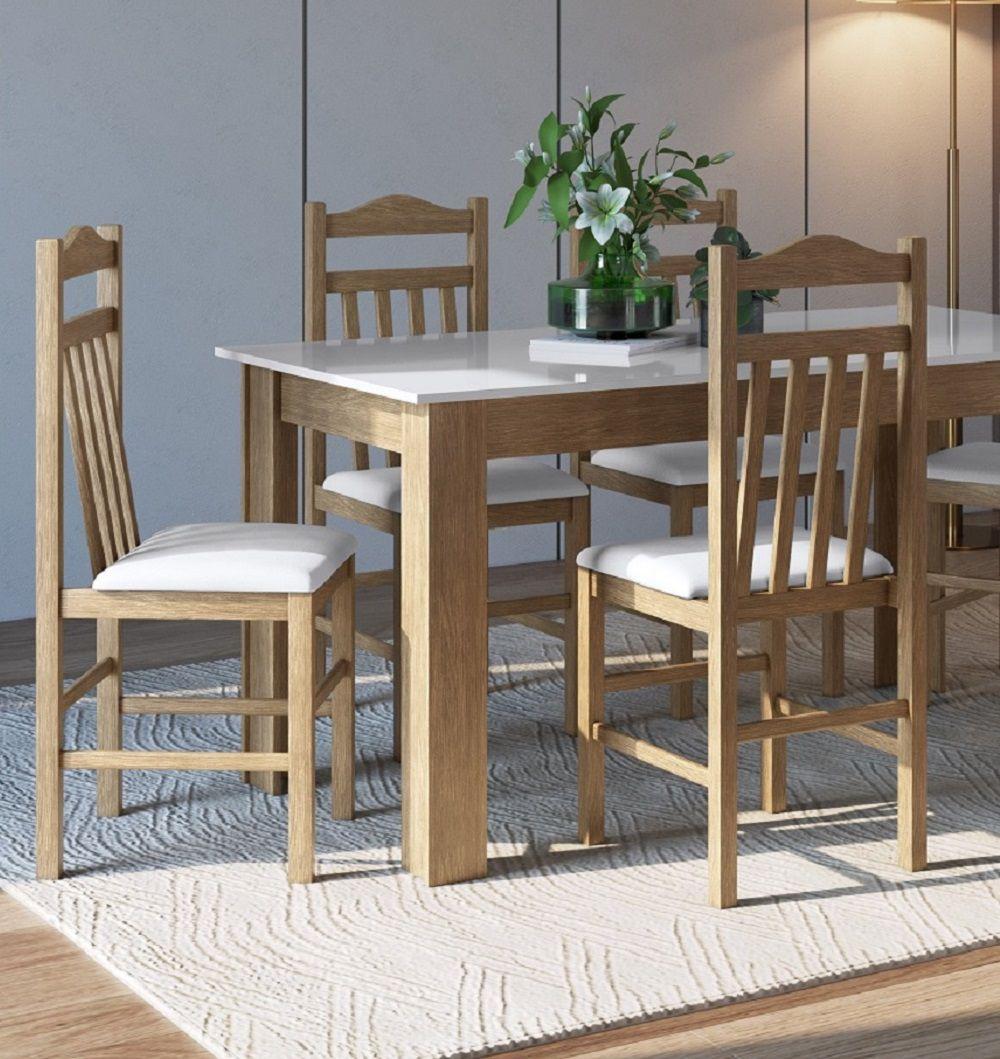 Conjunto com Mesa e 4 Cadeiras 11400 Ameixa Negra e Branco