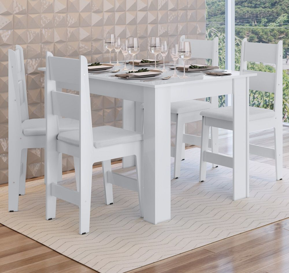 Conjunto com Mesa e 4 Cadeiras Milano 11200 Branco