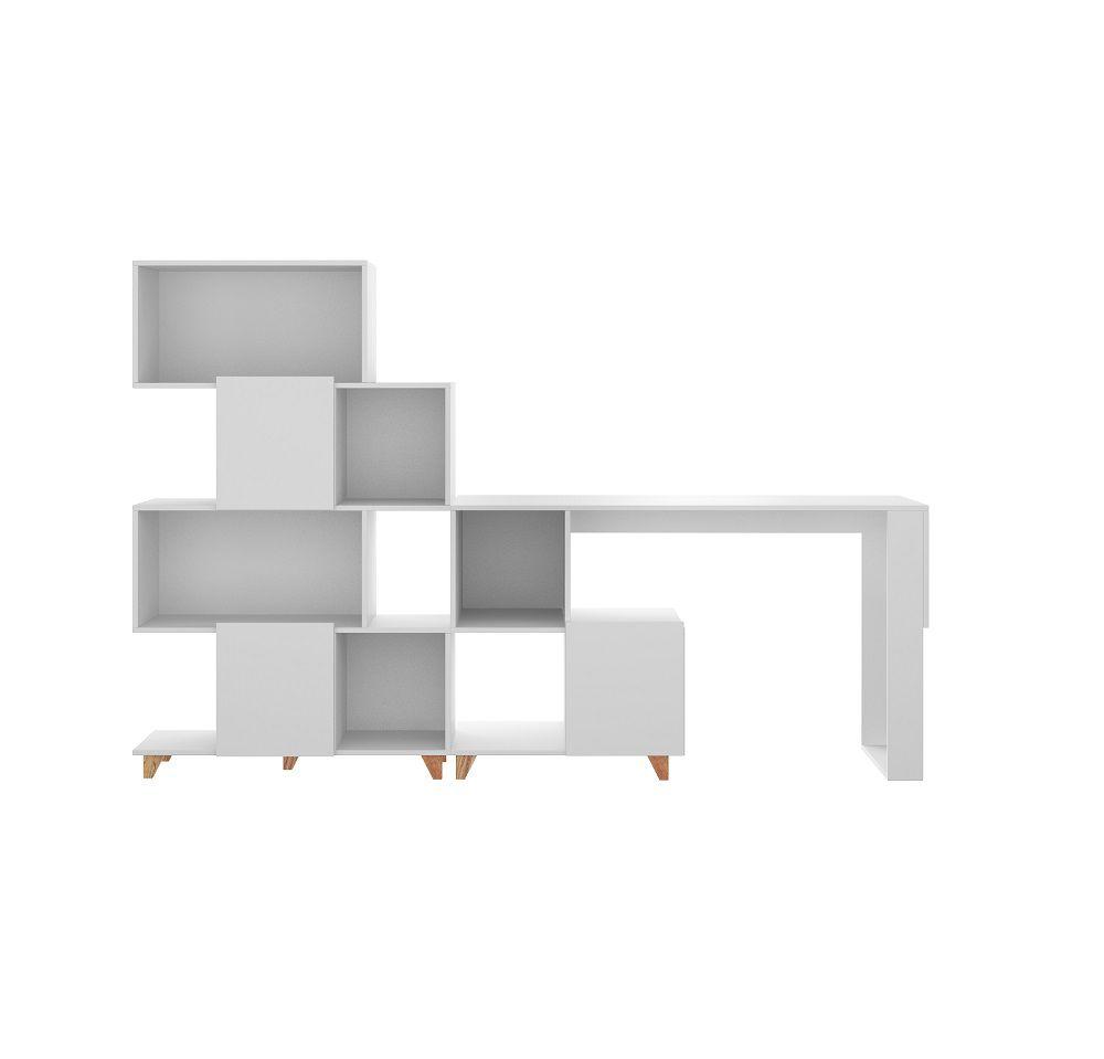 Conjunto com Mesa e Estante Aurora 9003 Branco Bentec