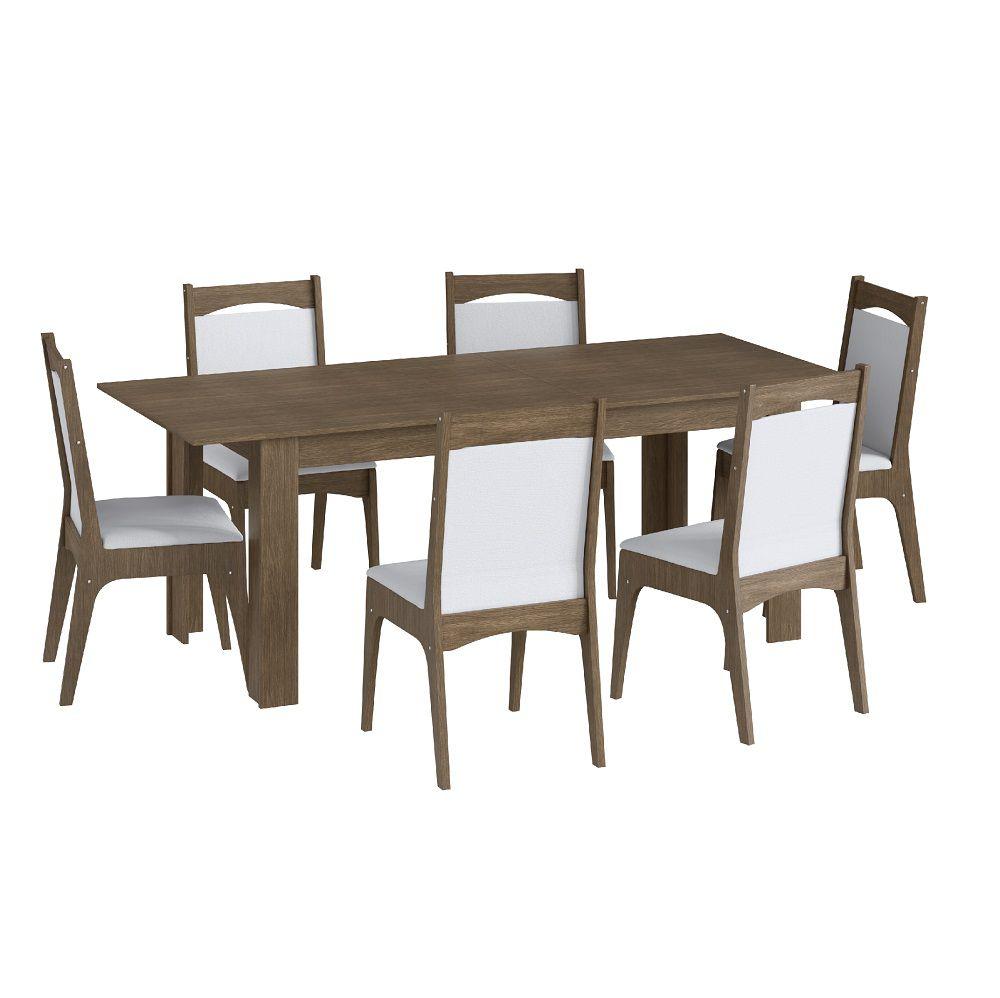 Conjunto com Mesa Elástica e 6 Cadeiras Estofadas 10305 Ameixa Negra e Branco