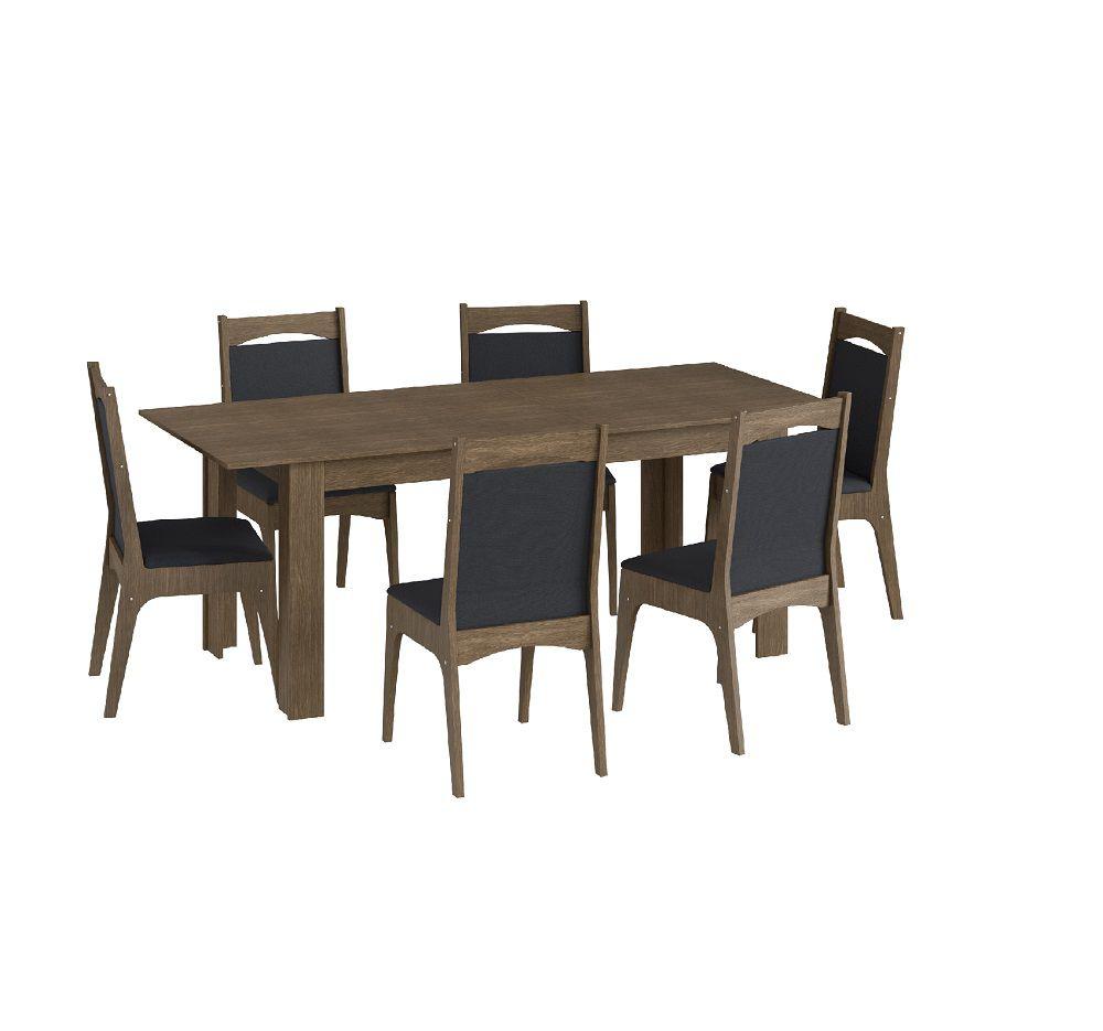 Conjunto com Mesa Elástica e 6 Cadeiras Estofadas 10305 Ameixa Negra e Preto