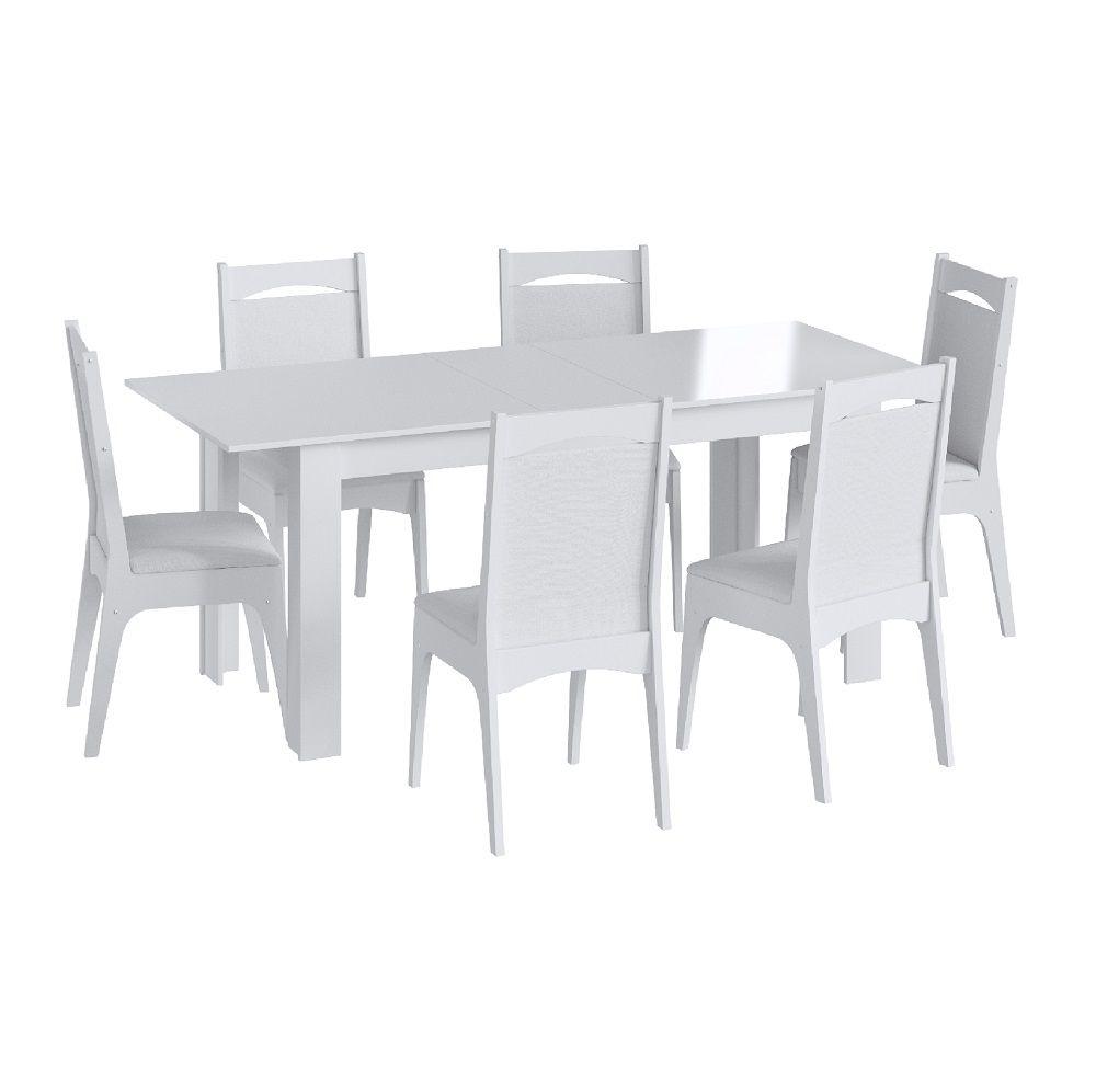Conjunto com Mesa Elástica e 6 Cadeiras Estofadas 10305 Branco