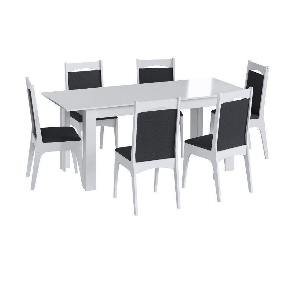 Conjunto com Mesa Elástica e 6 Cadeiras Estofadas 10305 Branco e Preto