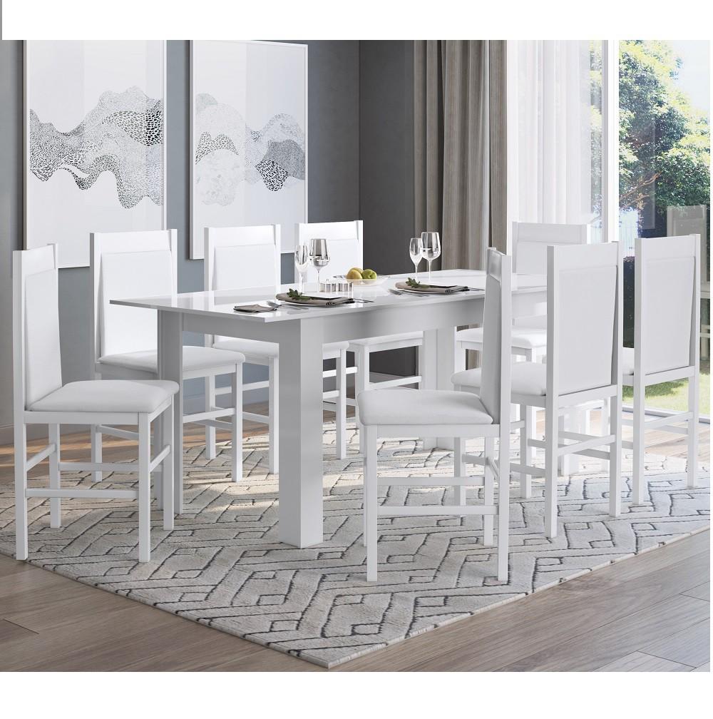 Conjunto com Mesa Elástica e 8 Cadeiras 10305 Branco