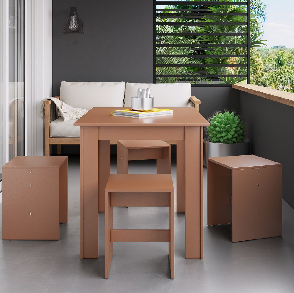 Conjunto com Mesa Fixa e 4 Banquetas Baixa 11000 Ceramic